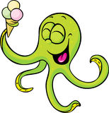 Funny octopus with ice cream isolated Royalty Free Stock Photo