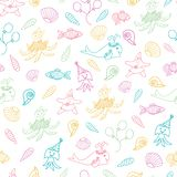 Funny sea animals and fish vector nautical pattern royalty free stock images