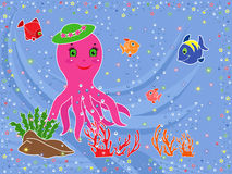 Funny Octopus and underwater marine life. Underwater marine life. Funny Octopus, fishes, coral and seaweed on the seabed. Hand drawing vector illustration Stock Images