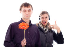 Funny odd couple Royalty Free Stock Photo