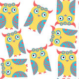 Funny odd fantasy cute owls seamless pattern and seamless patter Royalty Free Stock Photography