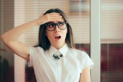 Stressed Business Woman Waiting for Managerial Decision Royalty Free Stock Photography