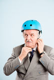 Funny man wearing cycling helmet portrait real people high defin Stock Photo