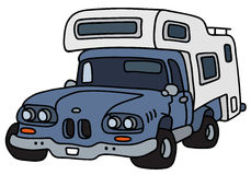 Funny old blue small caravan Stock Photography