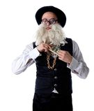 Funny old Jew with banknotes hide in suit isolated Royalty Free Stock Photos