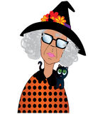 Funny Old Lady Dressed up for Halloween Stock Photos