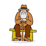 Funny old man with hat and walking cane. Grandfather with a long Royalty Free Stock Images