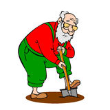 Funny old man working in the garden. Grandfather with a long bea Royalty Free Stock Photo
