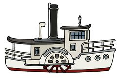 Funny old paddle steamboat. Hand drawing of a funny old white paddle steamboat Royalty Free Stock Photo