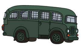 Funny old prison bus. Hand drawing of an old green prison bus Stock Photos