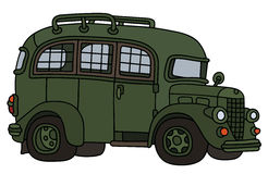 Funny old prison bus. Hand drawing of a vintage green prison bus Stock Images