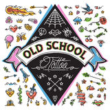 Funny Old School Tattoo Set Stock Image