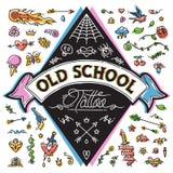 Funny Old School Tattoo Set Stock Image