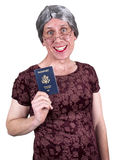 Funny Old Ugly Mature Senior Woman Passport Travel. Funny old ugly mature senior woman who likes to travel and shows her passport. Granny has a big smile and can Stock Photos