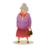 Funny old woman with bag. Grandmother walking. Colorful cartoon stock illustration