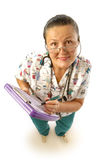 Funny older nurse. View from above of a funny older nurse taking notes Royalty Free Stock Image