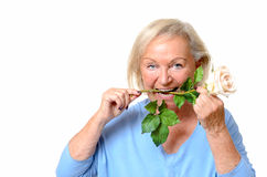 Funny older woman with rose stem in mouth. Funny older woman in blue blouse and short hair holding white rose stem in mouth over isolated background royalty free stock photo