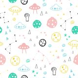 Funny one-eyed alien in space seamless vector pattern stock photo