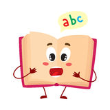 Funny open ABC book character with surprised face expression. Cartoon vector illustration  on white background. Primary school abc textbook, shocked or Stock Photos