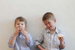 Funny Opposites. Two young boys eating cupcakes with different expressions with copy space stock photography