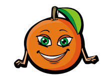 Funny orange. Funny cartoon orange on white backfround Stock Photos