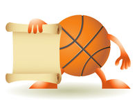 Funny orange basketball with paper Stock Photo