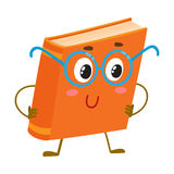 Funny orange book character in round blue nerdish glasses Royalty Free Stock Photography