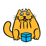 Funny orange cat enjoys the gift in the box. Vector illustration. Funny imaginary character Stock Photography
