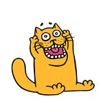 Funny orange cat in shock opened his mouth. Vector illustration royalty free stock photography