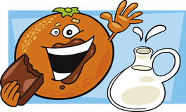 Funny orange eat chocolate and pot of milk Royalty Free Stock Image
