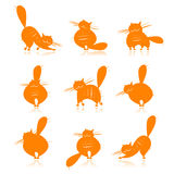 Funny orange fat cats silhouettes for your design Stock Images