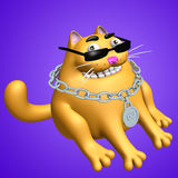 Funny orange fat sphinx cat in black glasses and silver medallion. 3D illustration. Royalty Free Stock Photo