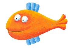 Funny orange fish. Acrylic illustration of funny orange fish Stock Image