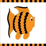 Funny orange fish with black stripes Royalty Free Stock Photos