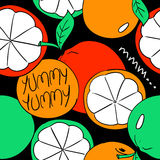 Funny Orange Fruit Seamless Pattern. Stock Photos