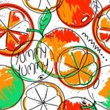 Funny Orange Fruit Seamless Pattern. Royalty Free Stock Images