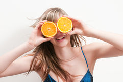 Funny orange fruits Stock Images