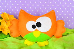 Funny orange owl toy. Children felt crafts royalty free stock images