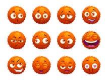Funny orange round characters set. Cartoon emotion stickers on white background. Vector illustration Stock Photo