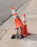 Funny Orange Traffic Cones. Funny image of orange traffic cones. Photographed in Ohio during Summer 2016 Royalty Free Stock Photo