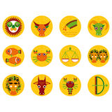 Funny orange zodiac sign icon set astrological, illustration  Stock Photo