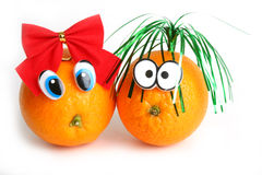 Funny oranges with eyes Stock Image