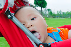 Funny Oriental children in stroller Royalty Free Stock Photos