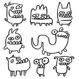 Funny Outline Monsters. Vector Illustration. Royalty Free Stock Photography