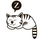 Funny outline sleeping cat vector illustration. Stock Image