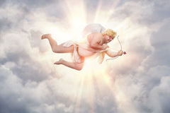 Funny overweight cupid stock photo