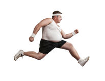 Funny overweight man on the run Royalty Free Stock Photography