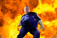Funny Overweight Obese Superhero Explosion background Stock Photos