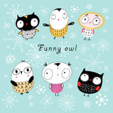 Funny owl. Graphic funny owl on a blue background with snowflakes Royalty Free Stock Image
