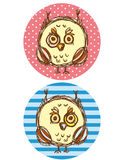Funny owl boy and girl on a blue and pink background. Greeting card Vector Royalty Free Stock Images